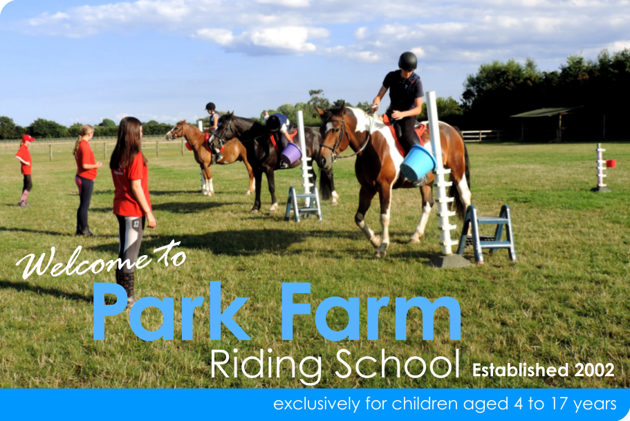 Welcome to Park Farm Riding School, Est 2002. Exclusively for children aged 4 to 17 years.
